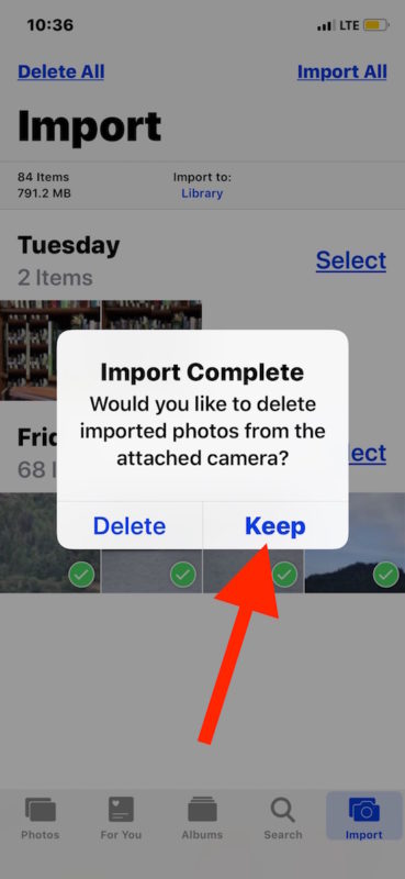 Choose to keep or delete the photos from the SD card