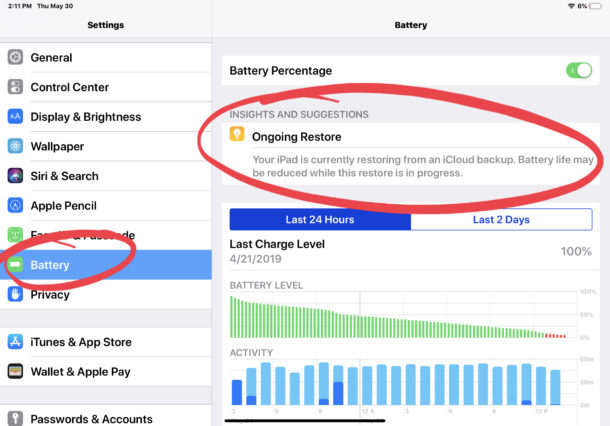 Ongoing Restore draining battery life on iPad