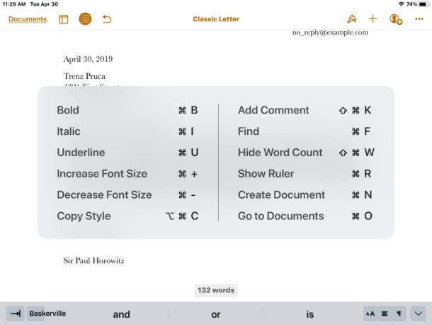 Pages for iPad keyboard shortcuts cheat sheet visible within Pages by holding COMMAND key
