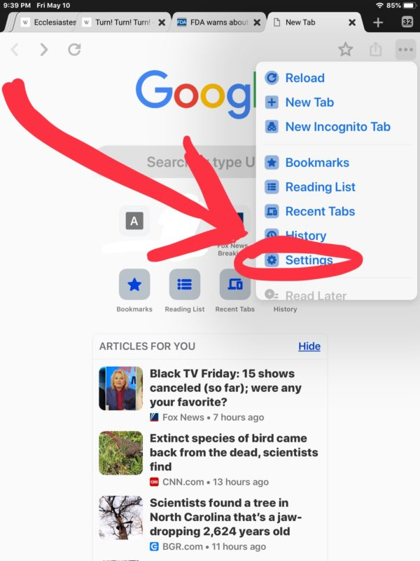 How to remove Chrome Suggested Articles For You in iOS