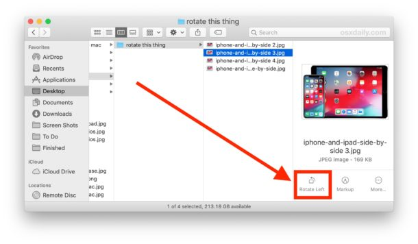 How to rotate an image directly in Mac Finder