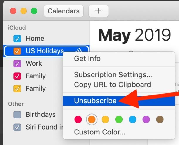 How to unsubscribe and delete Holiday Calendar on Mac
