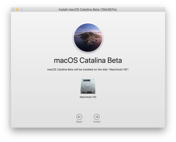 Choose disk to install MacOS Catalina onto