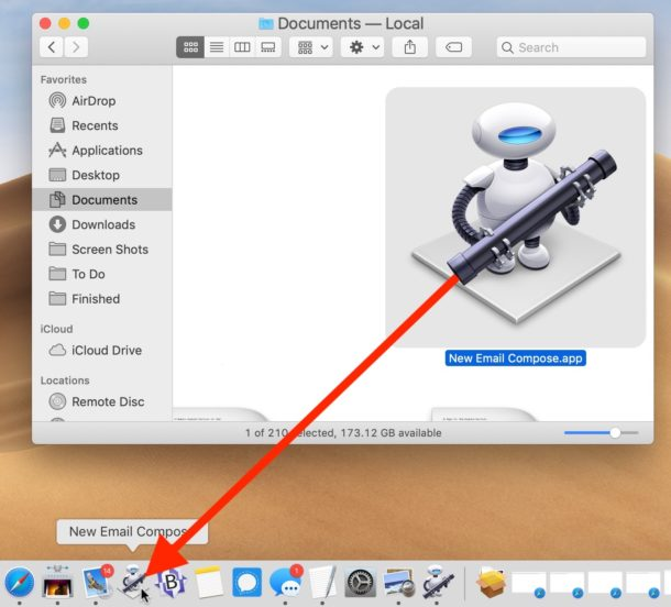 Drag the Automator shortcut to the Dock for easy new email compose access