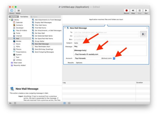 Fill out the template email for Automator