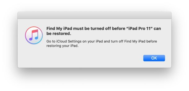 Find My iPhone must be turned off before restoring iOS or iPadOS