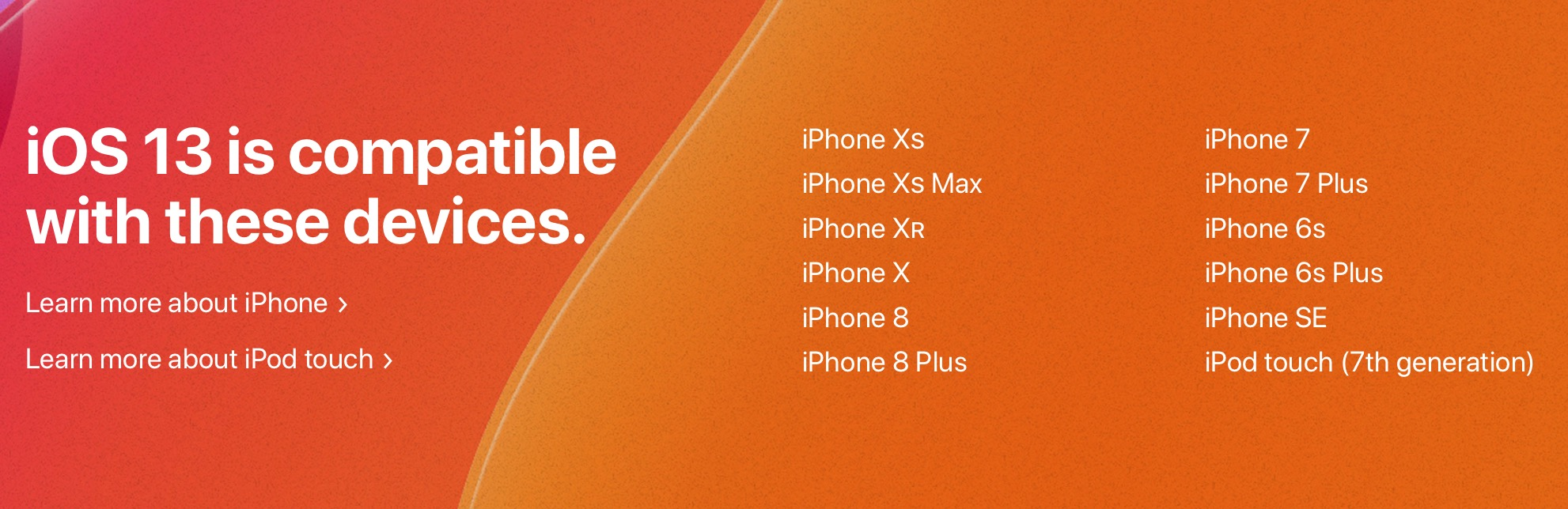 iOS 13 compatible iPhone and iPod models