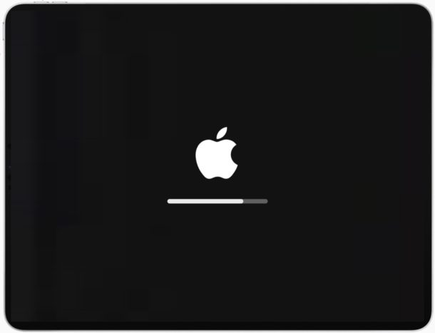 iPad with Apple Logo screen and progress bar