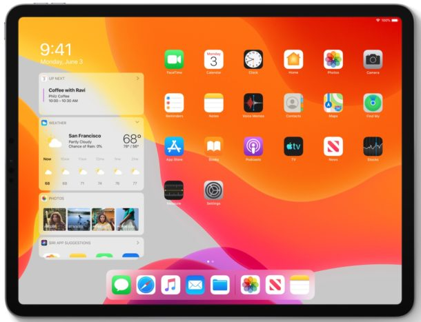 iPadOS 13 home screen