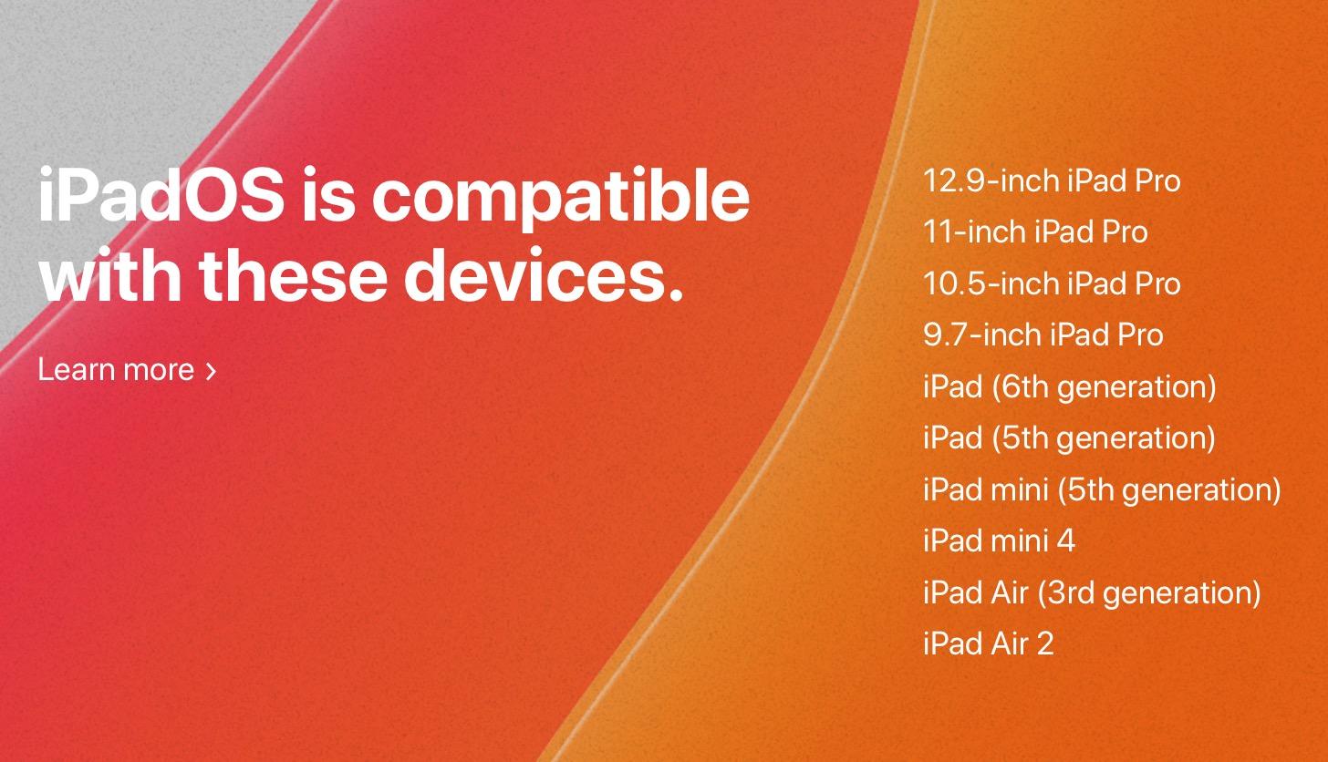 iPadOS compatible iPad models