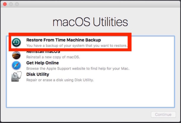 MacOS Utilities choose Time Machine