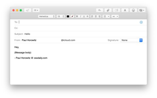Success, new email compose message created by Automator