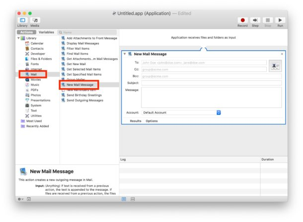 Find the New Mail Message automator action and drag that to the right panel