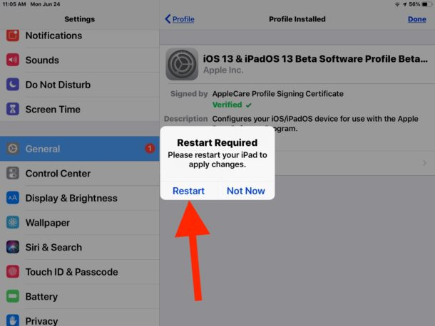 Restart to complete iPadOS beta profile installation