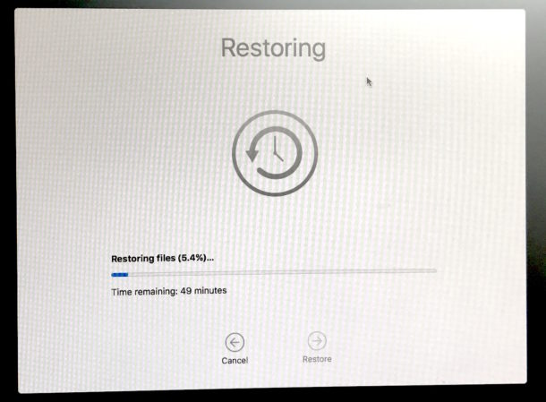 Restoring from Time Machine in the downgrade process