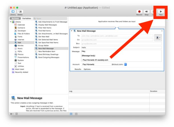 Test run the Automator application to make sure it works