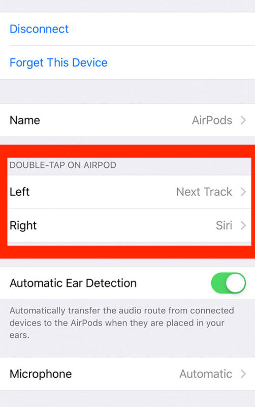 Customize AirPods tap controls at AirPods settings screen on iPhone