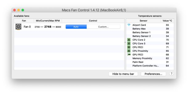 Mac Fan Control temperature and settings