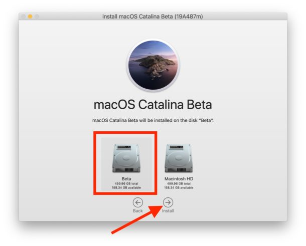 Choose the proper APFS volume to install MacOS Catalina onto