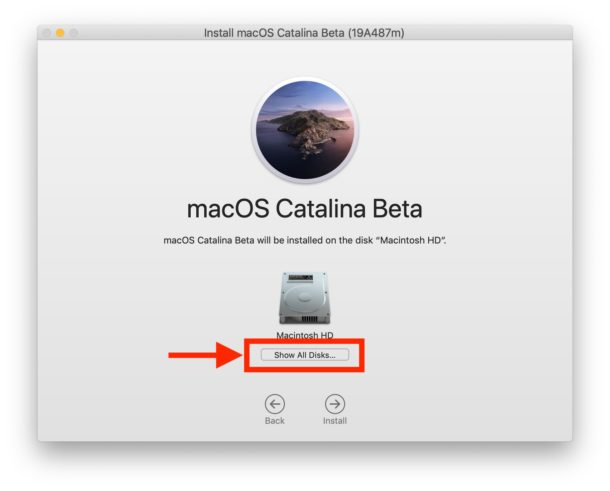 Choose Show All Disks to find the other disk volume to install Catalina onto