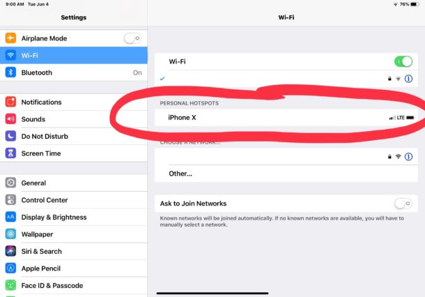 Connect to and  join an iPhone hotspot from iPad
