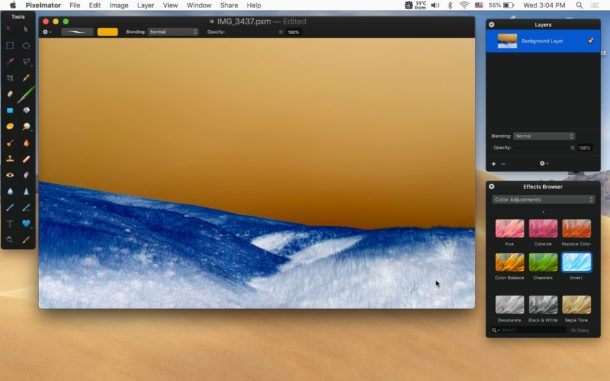 How to invert image colors in Pixelmator on Mac