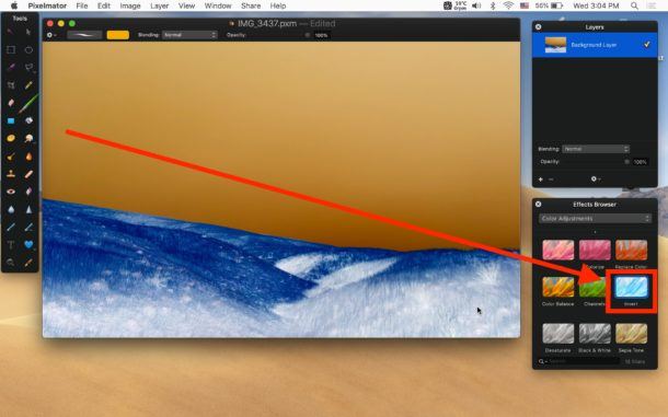 Invert image on Mac with Pixelmator Invert effect
