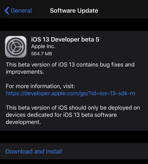 iOS 13 beta 5 and iPadOS 13 beta 5