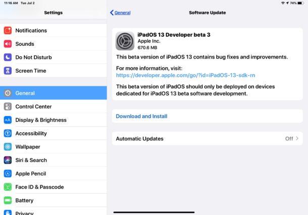 iPadOS 13 beta 3