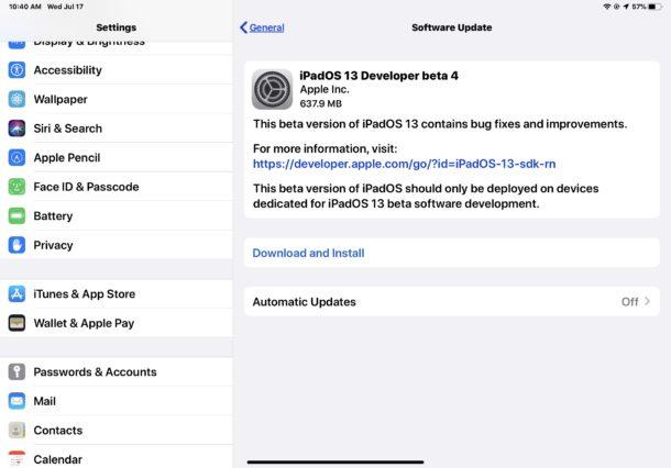 iPadOS 13 beta 4