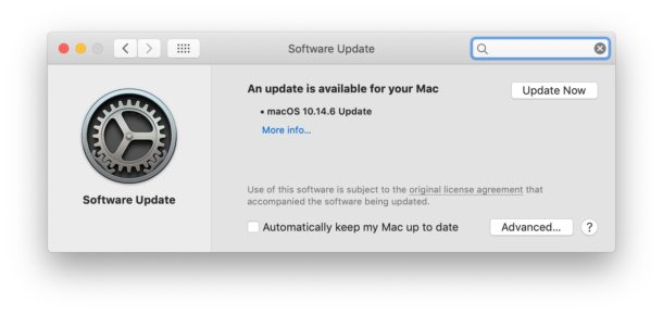 MacOS Mojave 10.14.6 software update