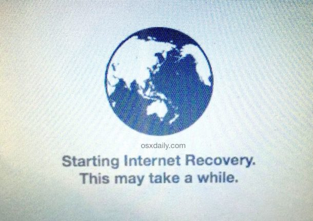 The spinning globe indicating that MacOS Internet Recovery starting and may take a while to load