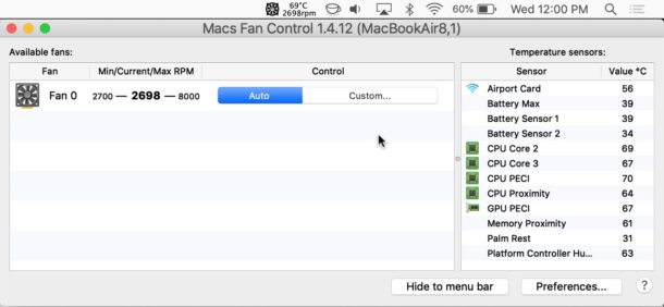 View fan speed and temperature readings from sensors with Mac Fan Control
