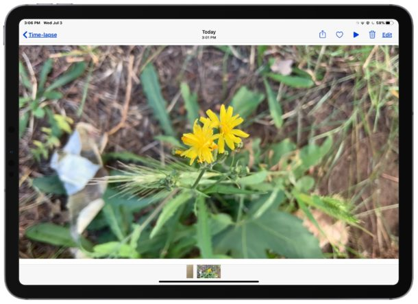 Play the recorded time lapse video on iPad