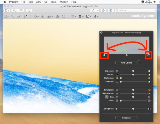 How to invert color of image on Mac with Preview by reversing white and black points