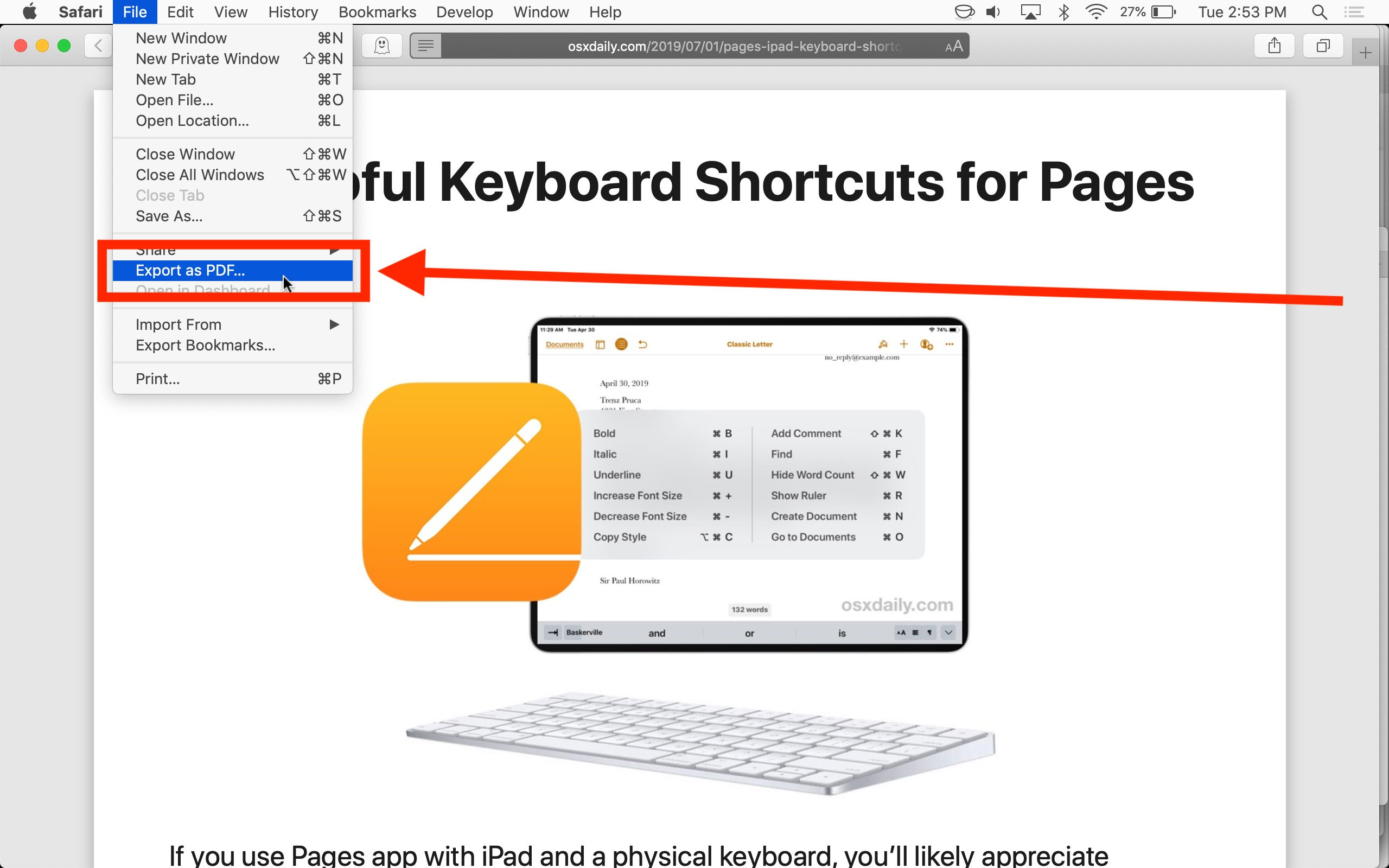 How to save a webpage as PDF on Mac with Safari by using Export as PDF