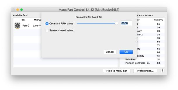 Adjusting the Mac fan speed to a custom setting