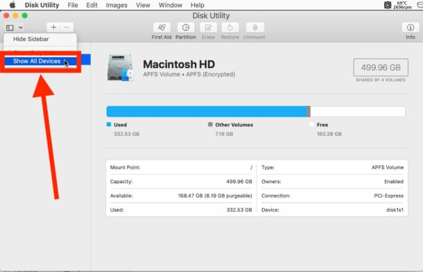How to show all disk devices in Mac Disk Utility
