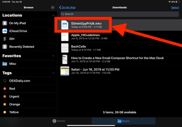 Navigate in Files app to the MKV video you want to watch on iPad