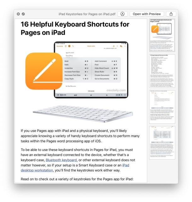 Example webpage saved as a PDF file from Safari on Mac