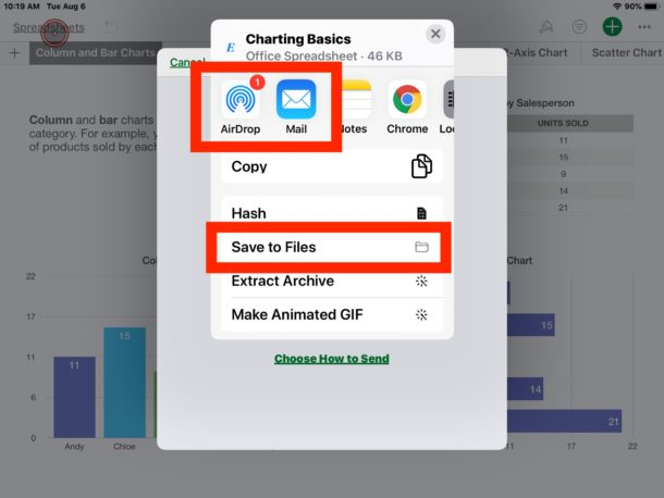 How to saved a converted Numbers files to Excel on iPad or iPhone