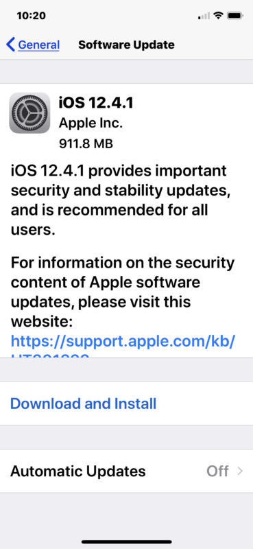 iOS 12.4.1 update download and install