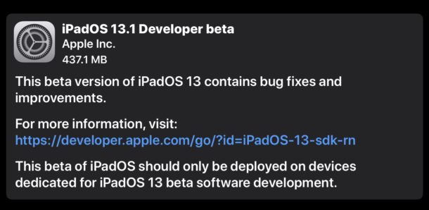 iOS 13.1 beta 1 and iPadOS 13.1 beta 1
