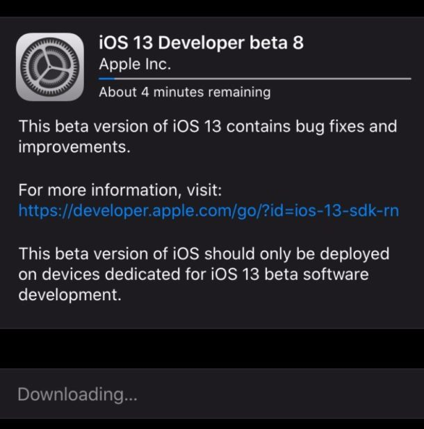 iOS 13 developer beta 8 downloading
