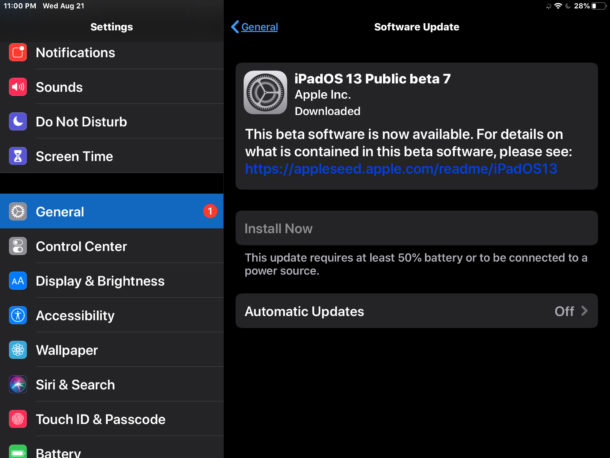iPadOS 13 public beta 7 download