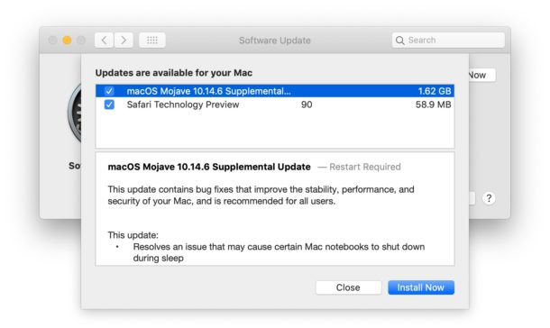 MacOS Mojave supplemental update aug 26 download