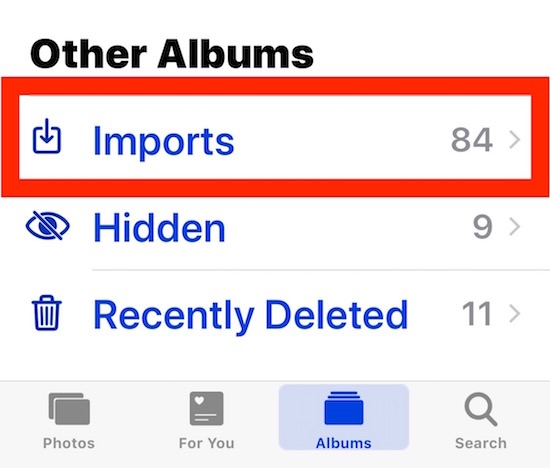 The Imports album in Photos app for iOS and iPadOS