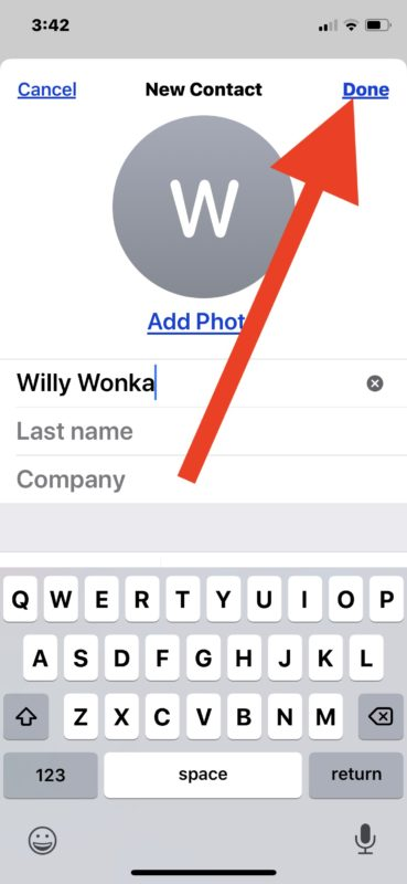 Fill in contact information and tap Done to add new contact to ipHone
