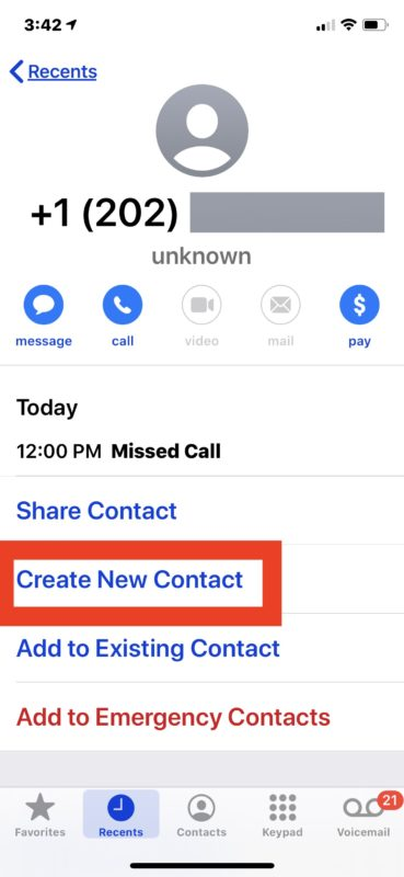 How to add new iPhone contact directly from phone call list