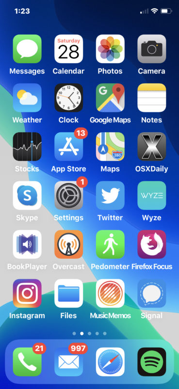 Example screenshot of iPhone 11 Pro